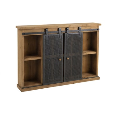 Un aménagement de cusine simple mais efficace avec ce jolie meuble rustique couleur bois.